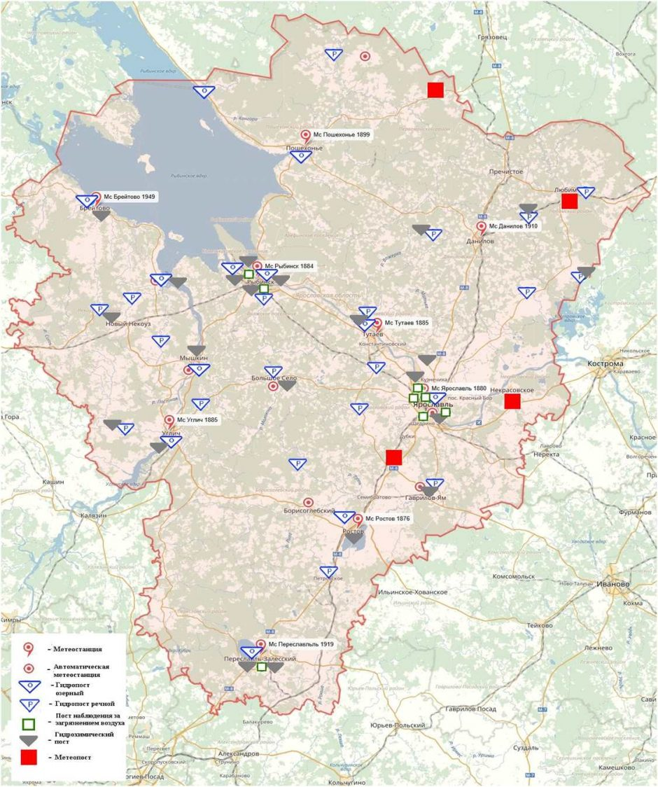 Карта расположения станций и постов