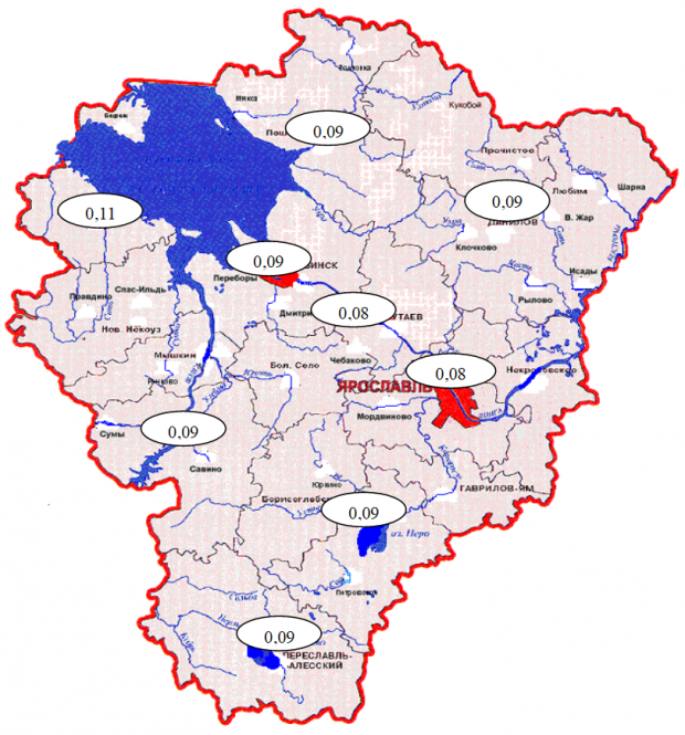 Радиационная обстановка. Карта МЭД по области